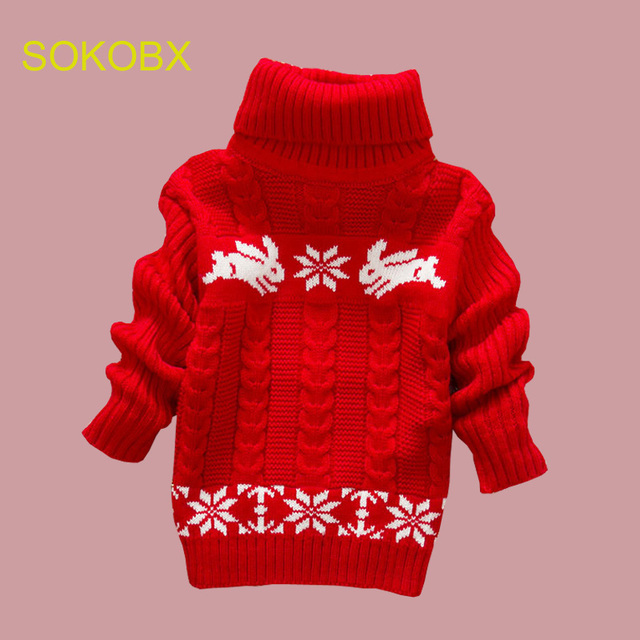 e29f3ec22da7 Autumn Winter Knitted Pullovers Turtleneck Warm Rabbit Sweater Baby ...