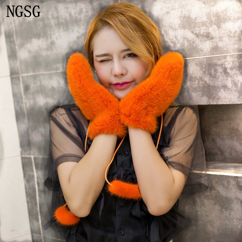 NGSG hiver femmes vison fourrure gants rose véritable épais vison gants mitaines russe solide femelle chaud adulte en cuir gant EA4050-26