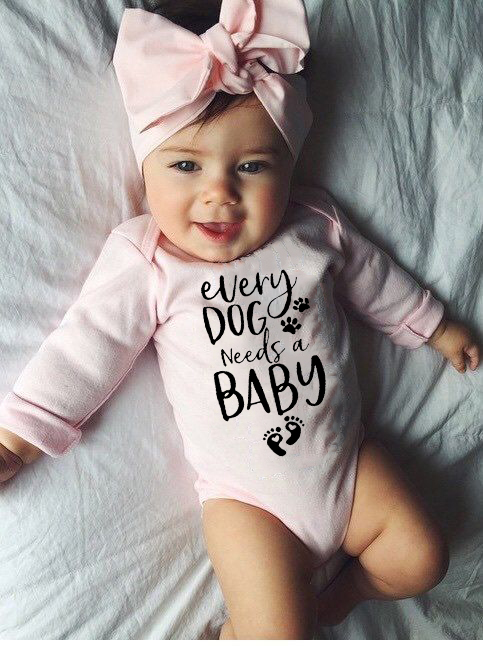 0-24M Infant Newborn Baby Girls Boys Long Sleeve Every Dog Needs A Baby Letter Print Romper Jumpsuit Outfit Clothes Autumn