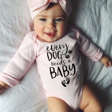 Needs Infant Jumpsuit Romper Outfit Long-Sleeve Newborn Baby Baby-Girls-Boys Letter Dog
