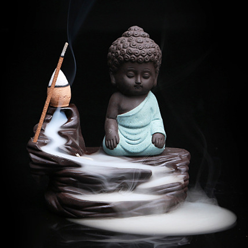 Backflow Incense Burner Ceramic Little Monk Stick Incense Holder Home Decor Aromatherapy Buddha Censer + 20Pcs Incense Cones
