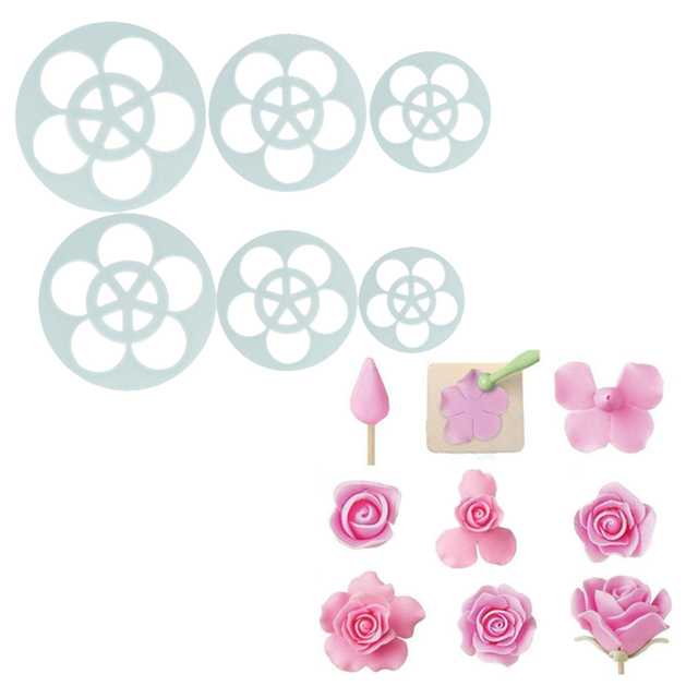 6Pcs Rose Flower Cake Decoration Kitchen Accessaries Fondant Cookie Chocolate Moulds DIY Mold Cutter Baking Decorating Tools