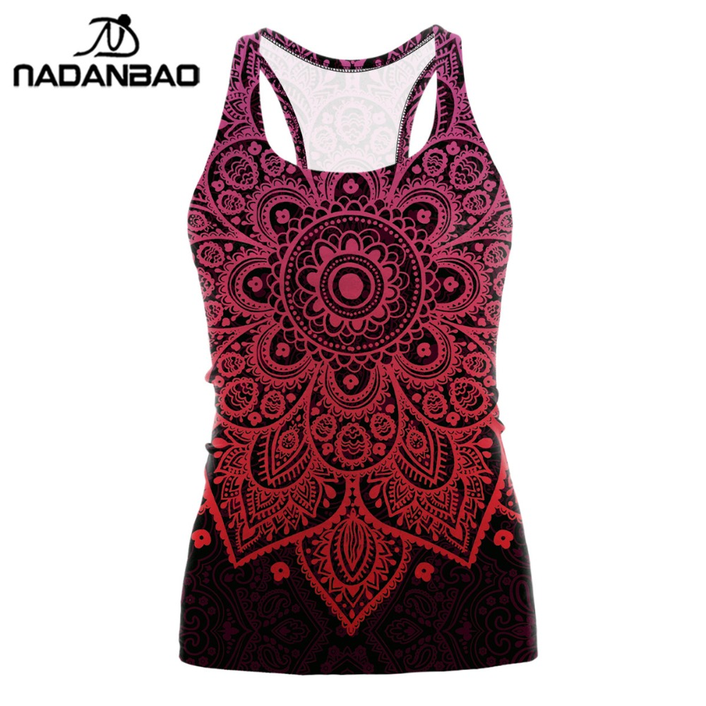 NADANBAO Mandala Plus Size Tshirt   Tank     Tops   Women Red Flower Aztec Round Ombre Sleeveless Sexy Club T shirt Feminina
