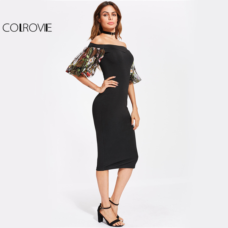 COLROVIE Bardot Summer Party Dress 2017 Black Off the Shoulder Women Elegant Midi Dress Floral Embroidery
