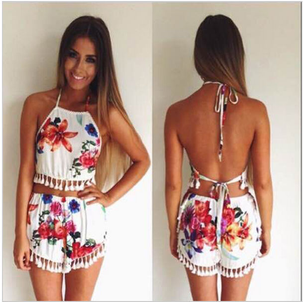 bbf3d755f2e 2015 Fashion Floral Printed 2 pics Playsuit Set Backless Halter Jumpsuit  Summer Party Shorts Tassel YZ033