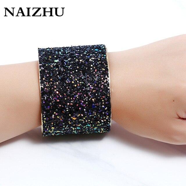 Charm punk Width open cuff bracelets bangles for women 2017 full Sequins  shine pulseiras sexy bracelet 555472198fda