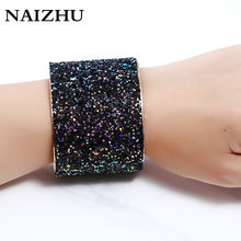Charm punk Width open cuff bracelets bangles for women 2017 full Sequins shine pulseiras sexy bracelet femme accessories(China)