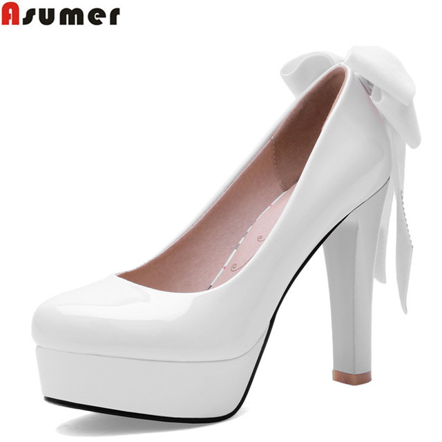 Plus size 34-42 NEW fashion high quality platform pumps black bottom patent leather thick high heels bowtie party wedding shoes