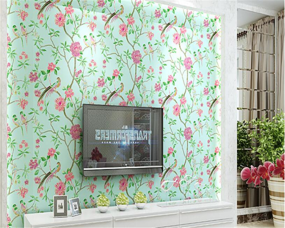 beibehang Chinese pastoral non - woven 3d wallpaper stereo TV background wall Chinese wind bird wallpaper papel de parede tapetybeibehang Chinese pastoral non - woven 3d wallpaper stereo TV background wall Chinese wind bird wallpaper papel de parede tapety