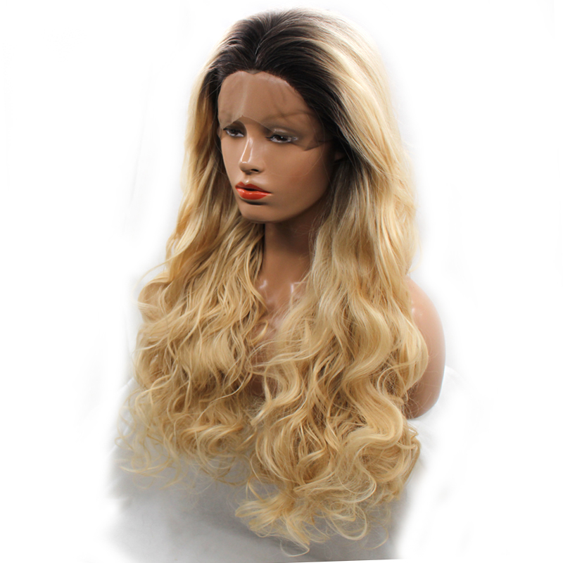 Dlme Fresh Color Dark Root Ombre Blonde Heat Resistant Fiber Hair