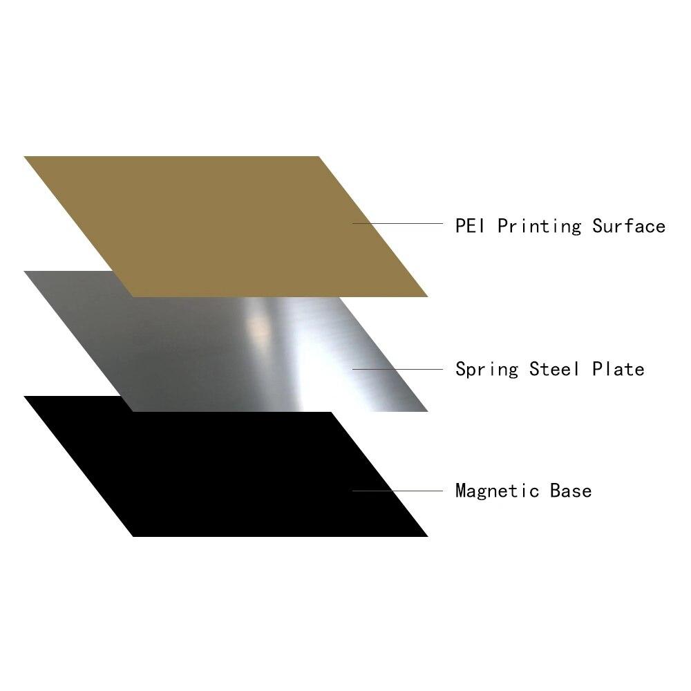 FLEXBED nouvelle mise à niveau 310x310mm Flex printemps acier appliqué PEI plaque + magnétique chaud autocollant pour imprimante 3D CR-10 10 S S3 lit chauffant - 4