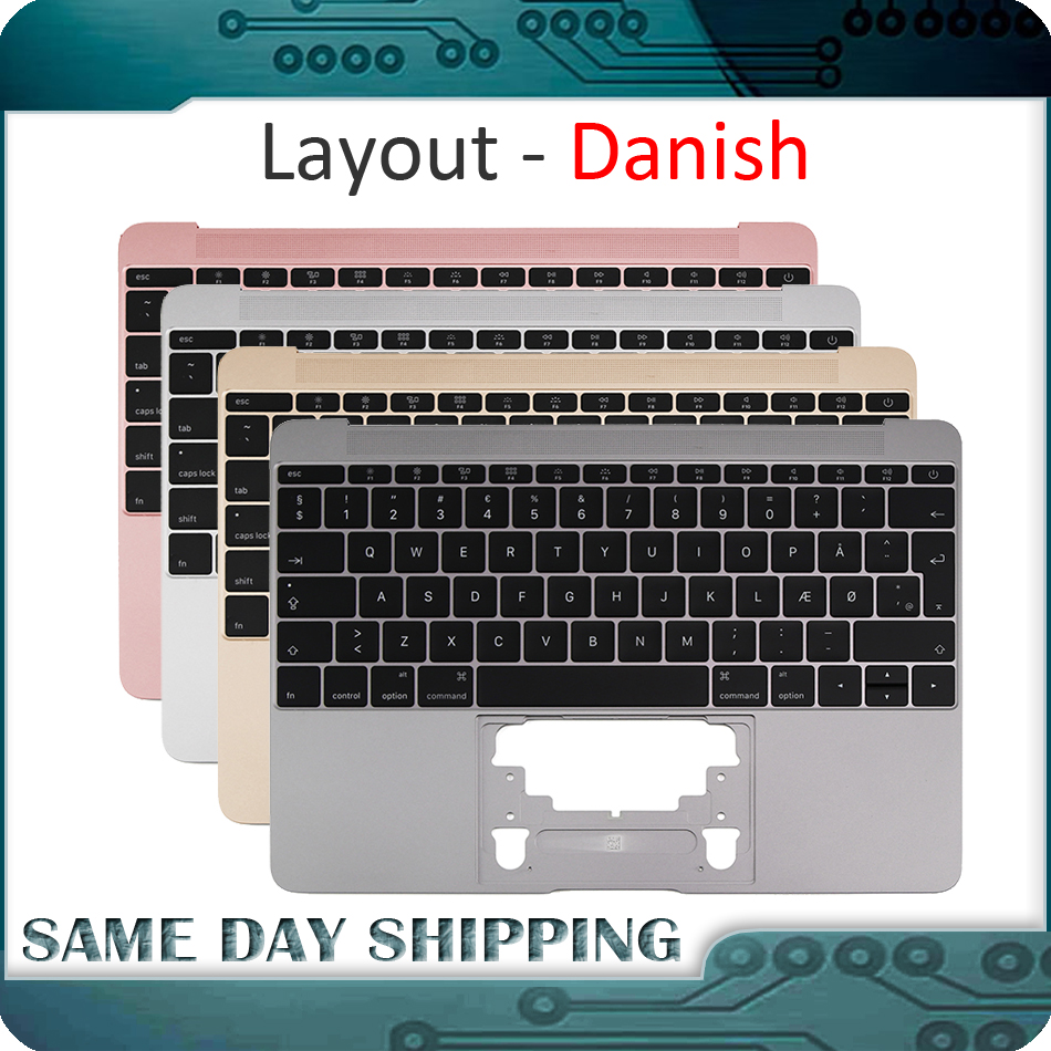 For Macbook 12'' A1534 Danish Denish Danmark Topcase Top Case with Keyboard Gold/Gray Grey/Silver/Rose Gold Color 2015 2017