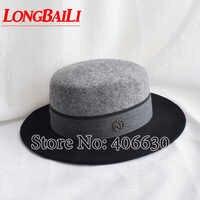 ฤดูหนาวสีดำและสีเทา Patchwork ผ้าขนสัตว์กว้าง Brim Felt หมวกผู้หญิง Flat Top Fedoras จัดส่งฟรี SWDW010