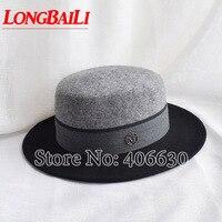Winter Black and Grey Patchwork Wide Brim Wool Felt Hats Women Flat Top Fedoras Free Shipping SWDW010