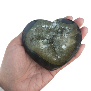 350-400g Agate Heart Natural Amethyst Geode Citrine Cluster Heart Drusy Quartz Crystal Agate Hearts Geode Mineral