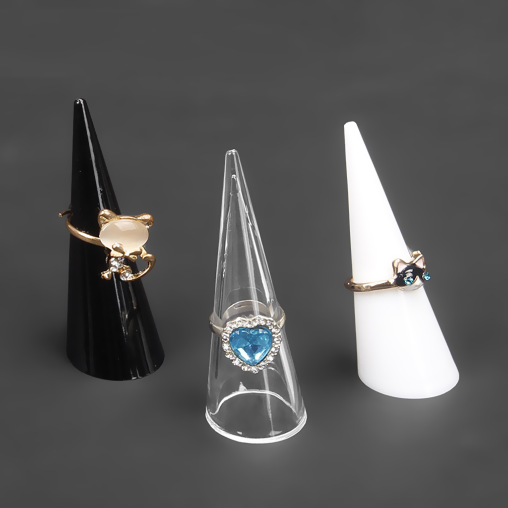 5pcs Plastic Finger Cone Ring Stand Jewelry Display Holder Organizers Showcase For Shop Dressing Table Home Jewelry Decoration