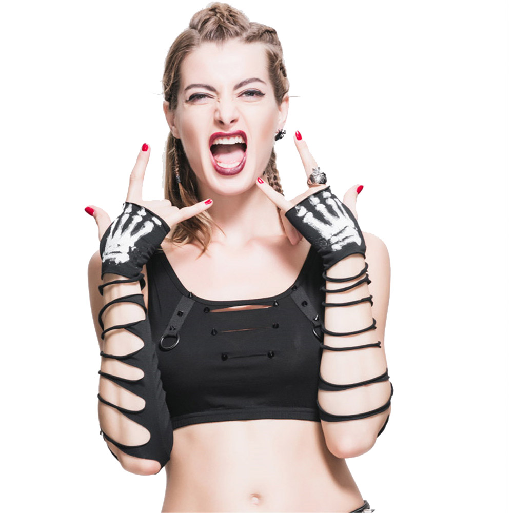 Punk Women Gloves Gothic Hole Arm Sleeve Ripped Arm Warmers Fingerless Skull Printed Hand Accessories