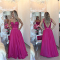 Fashionable 2016 New Sexy Summer Women See Through Hot Pink  Lace Chiffon Prom Dress Long Evening Party Dress Robe de Soiree
