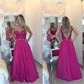 Moda 2016 nuevas mujeres atractivas del verano opacidad Hot Pink Lace gasa vestido de noche largo vestido de traje de soirée