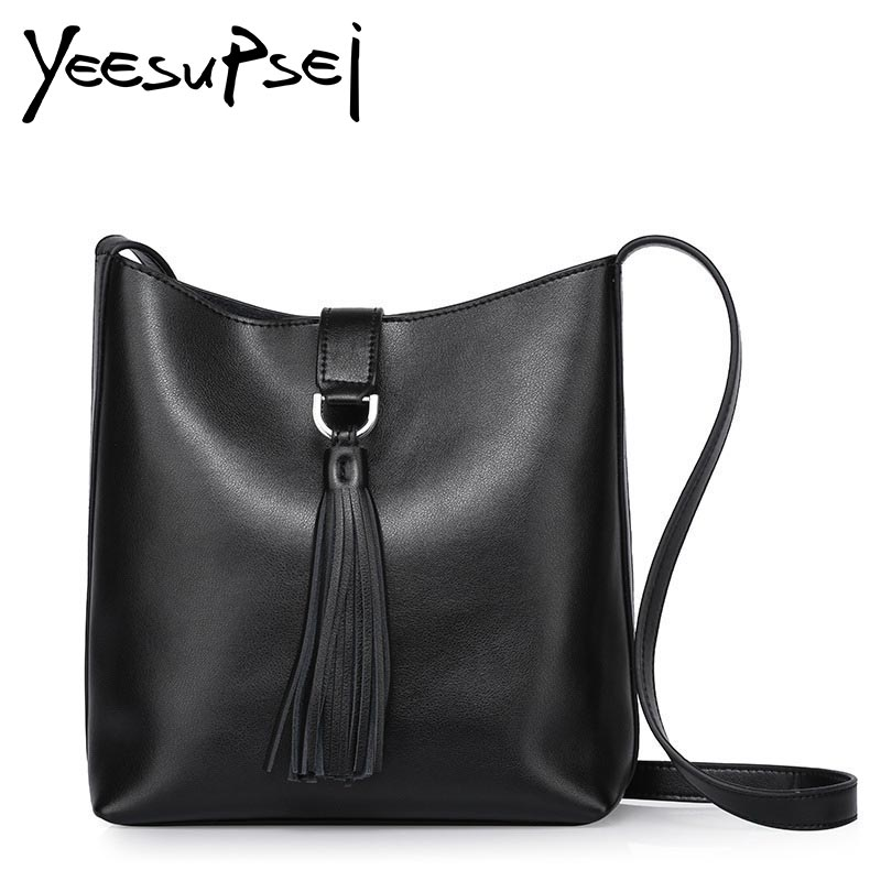 YeeSupSei Fashion Casual Shoulder Bags For Women Genuine Leather Tote Bag Tassel Large Capacity Soft Single Shoulder Woman Bag aosbos fashion portable insulated canvas lunch bag thermal food picnic lunch bags for women kids men cooler lunch box bag tote