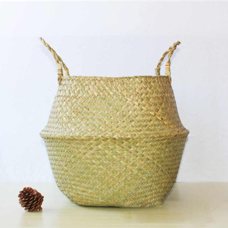 Seaweed Woven Folding Straw Basket Seaweed Woven Cosmetic Storage Bag Handmade Folding Seagrass Basket Household Supplies M9