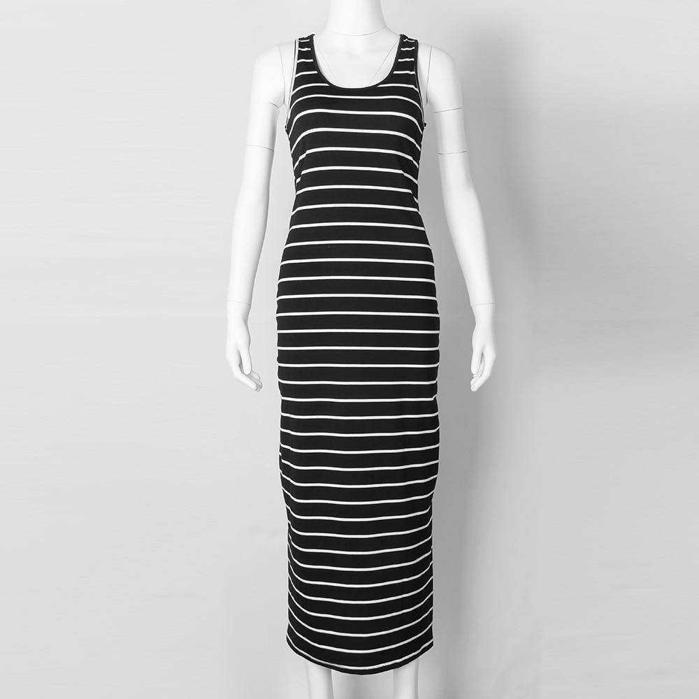 Sexy Women Plus Size Maxi Long Dress Summer Style Ladies Beach Vest Dress Striped Boho Long Sleeveless Casual Dress M0095 4