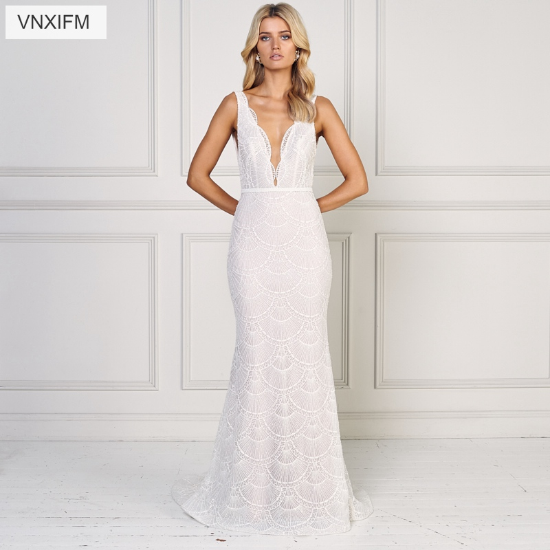VNXIFM 2019 Simple Beach Wedding Dresses with Appliques V-neck Chiffon Dresses For Wedding White/Ivory Plus Size Bridal Gowns