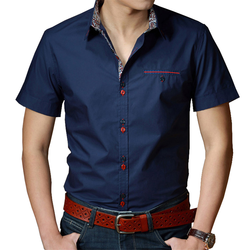 Plus size dress shirts men 6xl 7xl 8xl summer short for Solid color short sleeve dress shirts