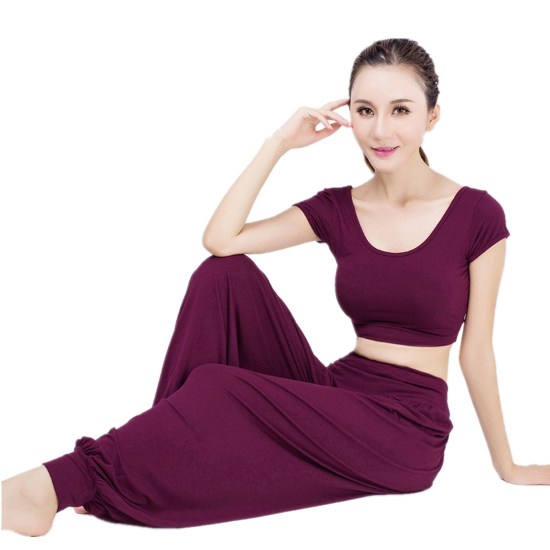 Romantic Lanbaosi Women's Yoga Pants Cotton Spandex Comfy Harem Genie Aladdin Gypsy Dance Exercise Loose Trousers Sportswear Leggings Excellent Quality