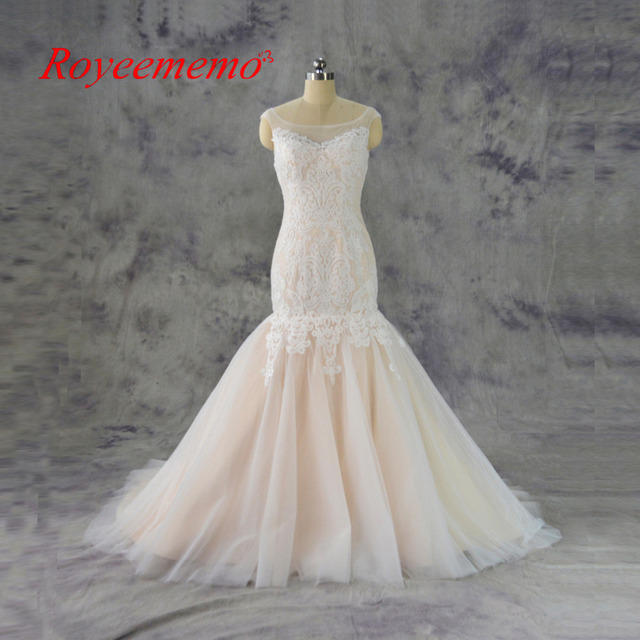 2017 champagne and ivory lace mermaid Wedding Dress classic design ...