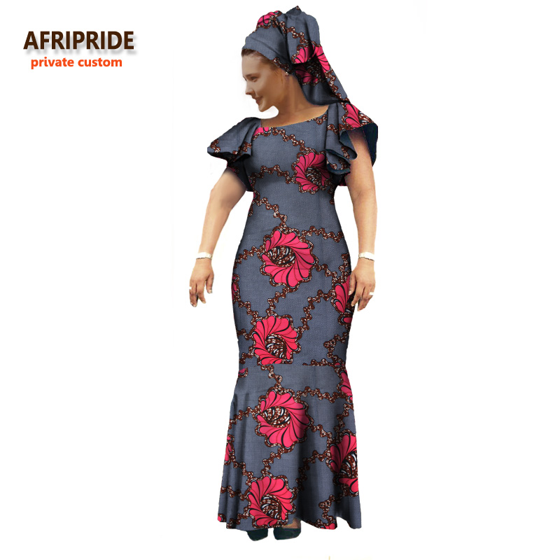 2018 Fall african women clothing AFRIPRIDE private custom lantern sleeves maxi dress for women with headscarf plus size A722552