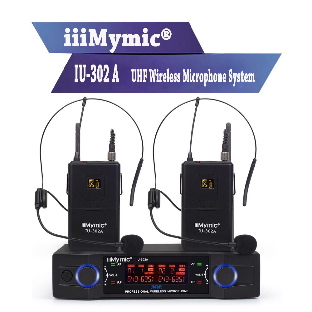 iiiMymic IU-302A UHF 600-700MHz Pro Dual Channel Wireless Microphone 2 Bodypack+2 Lapel&2 Headset Mic System for DJ Karaoke xtuga ew240 4 channel wireless microphones system uhf karaoke system cordless 4 bodypack mic for stage church use for party