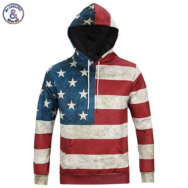 Mr 1991INC North America Fashion Men women 3d Sweatshirts Print USA Flag Stars Stripped Hoody Hoodies