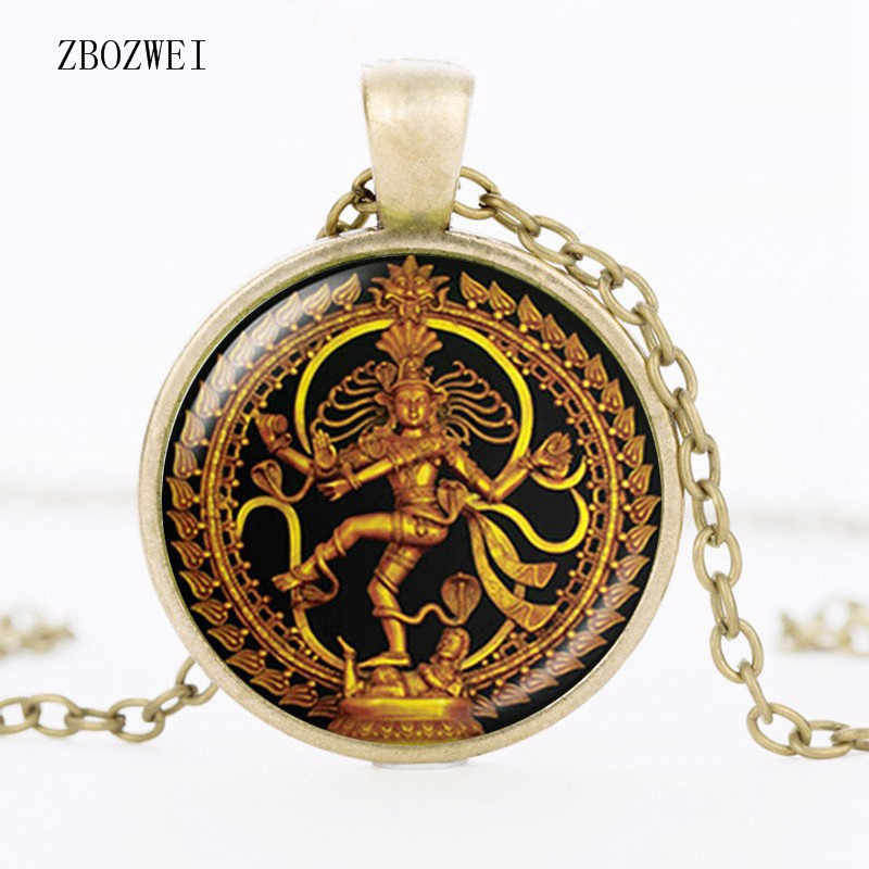 Gold Bead Necklace Dance King Shiva Pendant Glass Buddhist Jewelry India  God Spiritual Amulet Clothing Accessories Necklace
