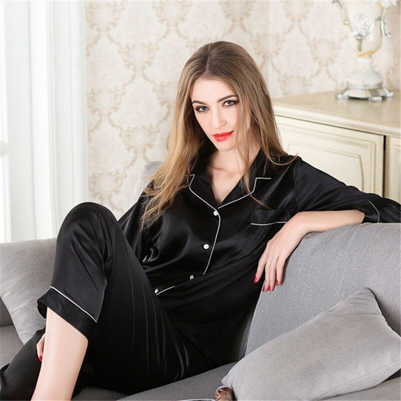 2019 Women Silk   Pajama     Sets   Satin Pijama Long Sleeve Fashion   Pajamas   Two Piece   Sets   Sleepwear Suit Home New Large Size Nightwear