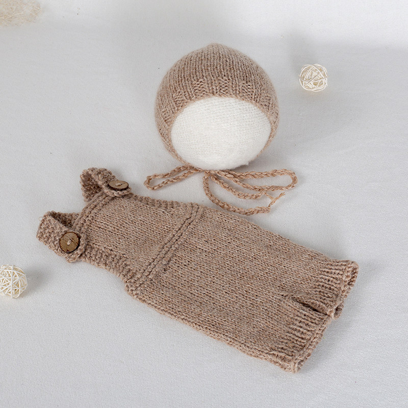 4fbea66f728 Knit baby hat and pant set Neworn cotton bonnet Crochet baby romper overall  Newborn photography props