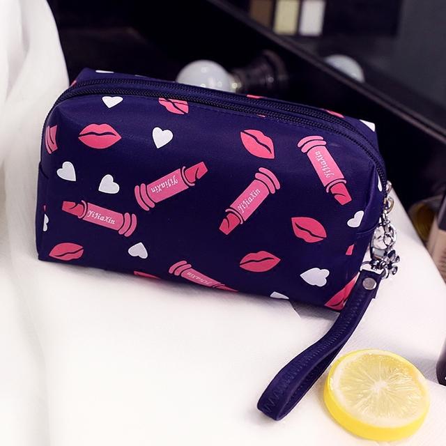 Moda Lápiz Labial y brillo de Labios patrón bolsa de cosméticos bolsa de maquillaje mujer 2017 Hot New trousse de maquillage Precioso organizador de viajes