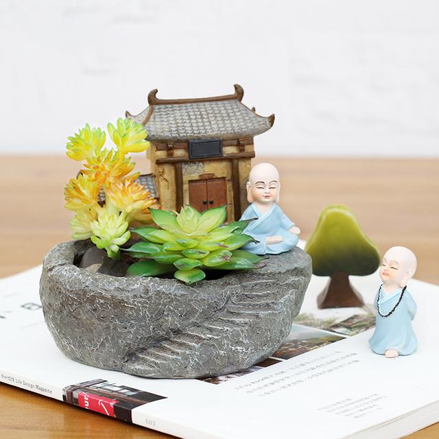 1pc Buddhism Temple Resin Flowerpot Succulent Plants Planter Monk Flower Pot Home Garden Decoration Bonsai Flower Pot FENGSHUI