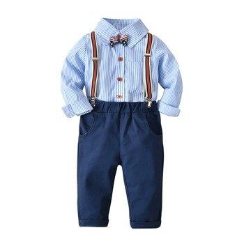 3 uds. Ropa de primavera otoño traje de Gentry para niños camisa de manga larga a rayas pantalones de pajarita conjunto de moda para bebés