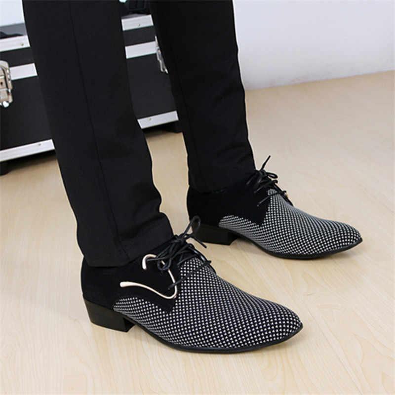 Mensหนังกระชับรองเท้าผู้ชายธุรกิจPointyลายสก๊อตสีดำรองเท้างานแต่งงานอย่างเป็นทางการBasicรองเท้าผู้ชาย2019 Loafers