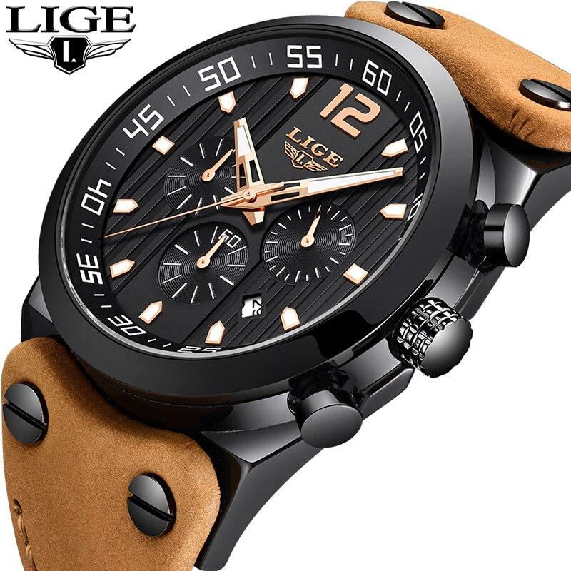 2018New LIGE Men Watches Top Brand Luxury Business Quartz Waterproof Watch Men Casual Leather Sport Watch Male Relogio Masculino