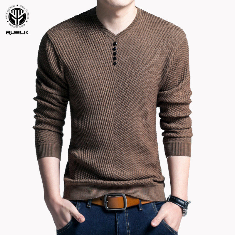 RUELK Cotton Sweater Men Long Sleeve Pullovers Outwear Man V-Neck sweaters Tops Loose Solid Fit Knitting Clothing 4 Colors New