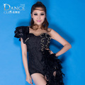 2016 female singer ds Costume European jazz feathers Floral  Patchwork  jumpsuit Transparent Black lace Dance wear sexy Bodysuit