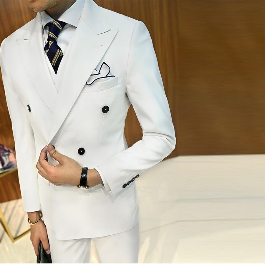 Trajes blancos negros para hombre hechos a medida chaqueta pantalones  vestido Formal hombres traje conjunto hombres 2e0a00631bc