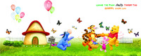 PVC Cartoon Winnie The Pooh Wall Stickers For Kids Rooms Decoration Tigger Too Tree Wall Decal