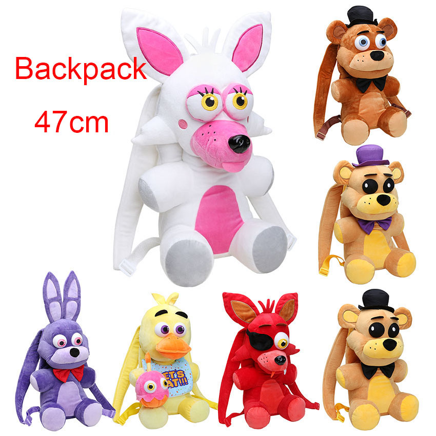 Backpack 18.5'' 47CM Five Nights At Freddy's plush toy FNAF Freddy Fazbear Bonnie Mangle foxy chica plush backpack kids bag 5 pcs pack 5 5 inch five nights at freddy s pvc action figure toy foxy gold freddy chica freddy with 2 color led lights