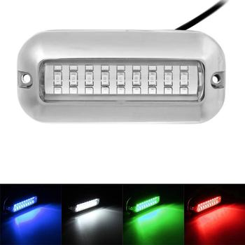 MAHAQI Universal 3.5inch 12V 50W 27 LED Marine Stainless Steel Under Water Pontoon Boat Transom Light White/Blue/Green/Red Water newest blue 27 led underwater boat marine transom lights stainless steel pontoon