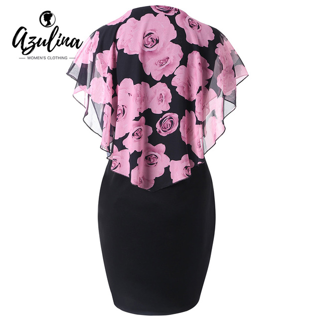 AZULINA Women Dress Plus Size Rose Valentine Overlay Capelet Bodycon Dress 2018 Casual Work Party OL Dresses Vestidos De Fiesta