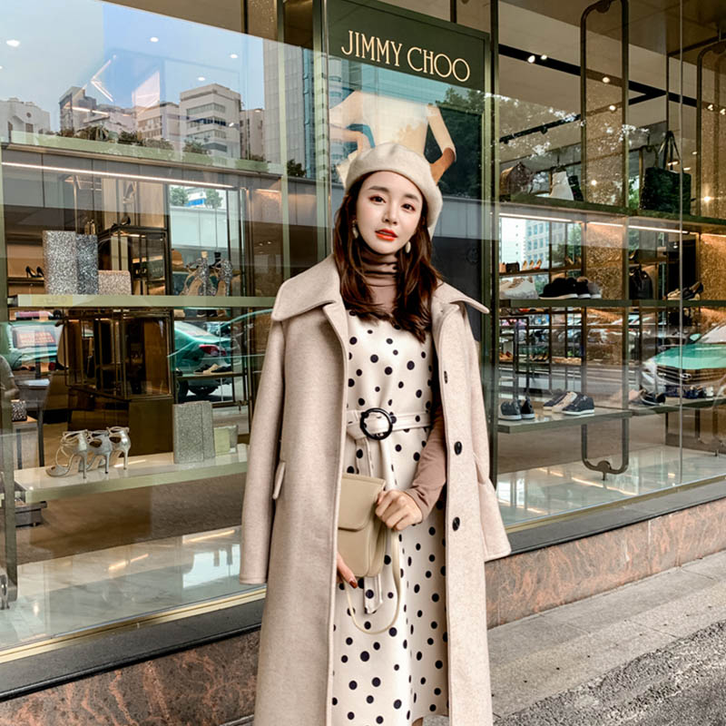 OLN 2019 Women's Woolen Coats 2019 New Style Fashionable Wind Long Overcoat Autumn Winter Temperament Coats Warm Outwear 16955