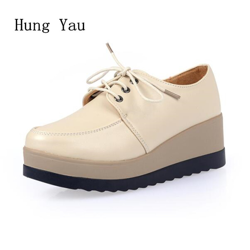 Women Shoes Genuine Leather Casual Oxford Flat Shoes Platform Woman Walking 2018 Autumn Fashion Lace Up Low Heeled Skid brand new spring shoes woman genuine leather fashion lace up women flat shoes casual platform shoes women